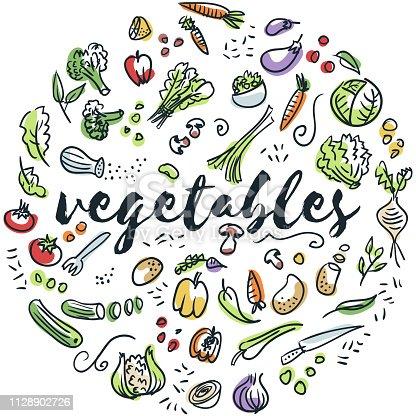 Circular design of vegetables drawings