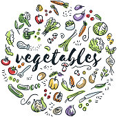 Circular design of vegetables drawings
