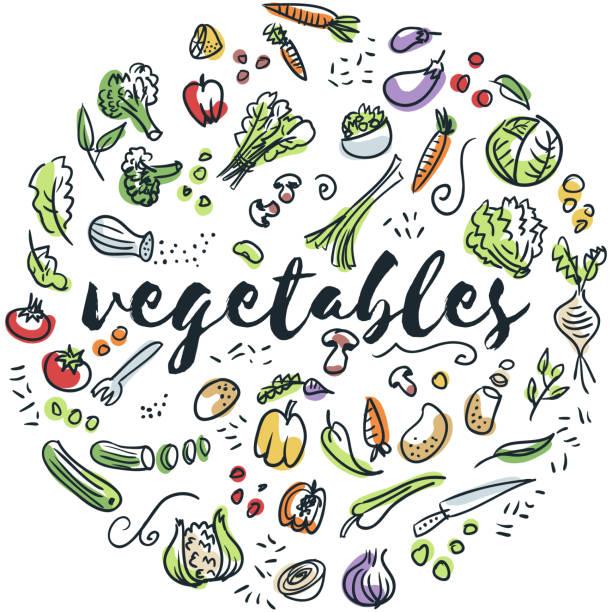 Vegetables hand drawn design Circular design of vegetables drawings cooking drawings stock illustrations