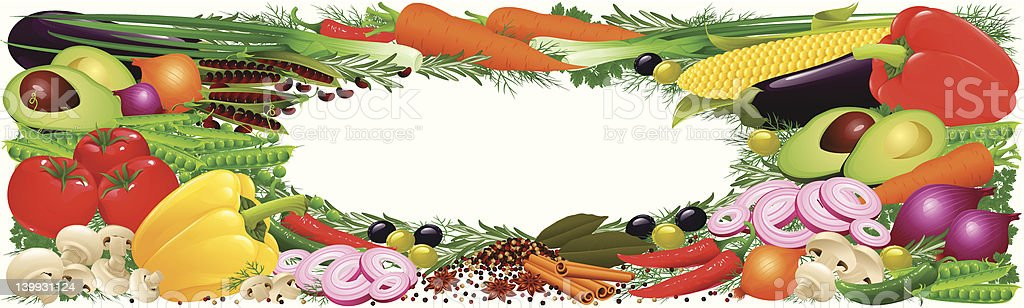 Vegetables, herbs and spices banner royalty-free stock vector art