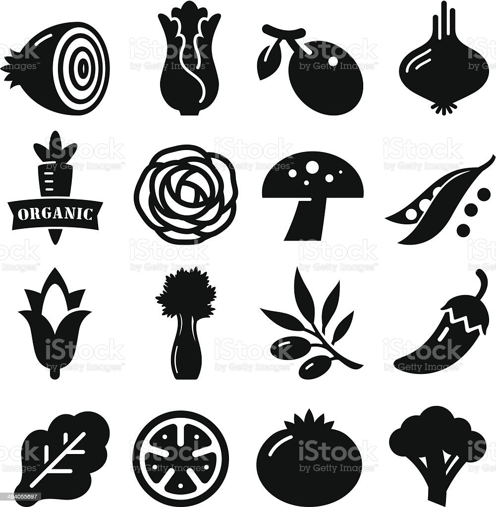 Vegetables Icon - Black Series vector art illustration