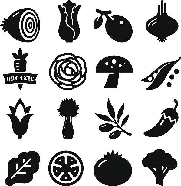 vegetables icon - black series - lettuce stock illustrations