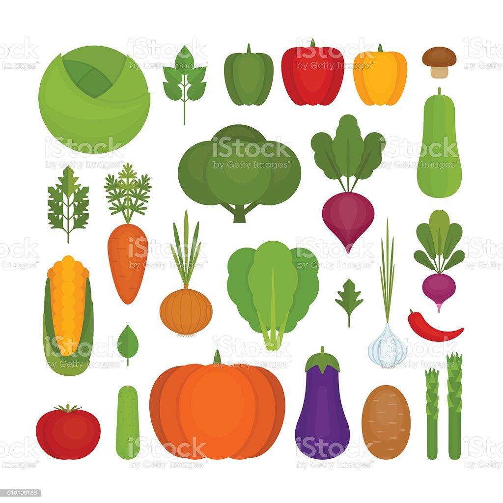 Vegetables icon set. Organic and healthy food. - ilustração de arte em vetor