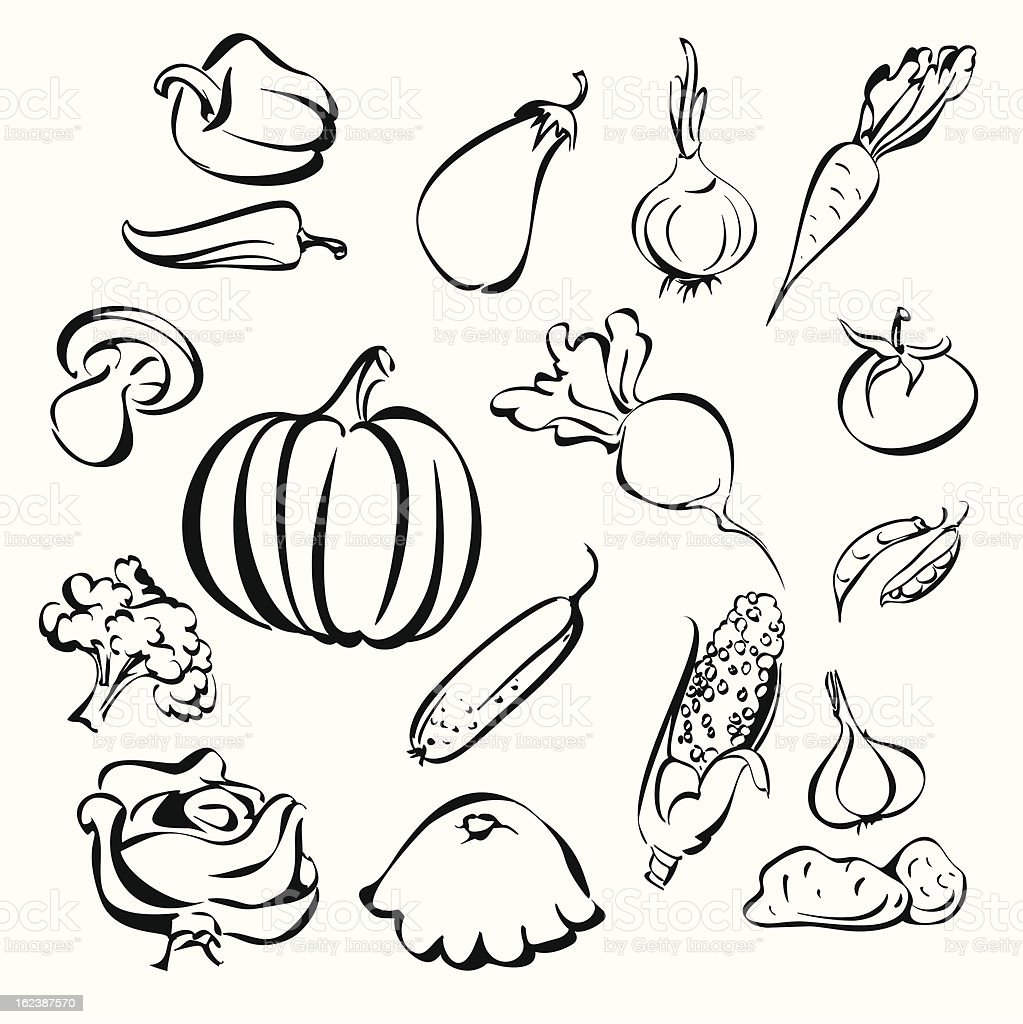 vegetables icon set sketch royalty-free stock vector art