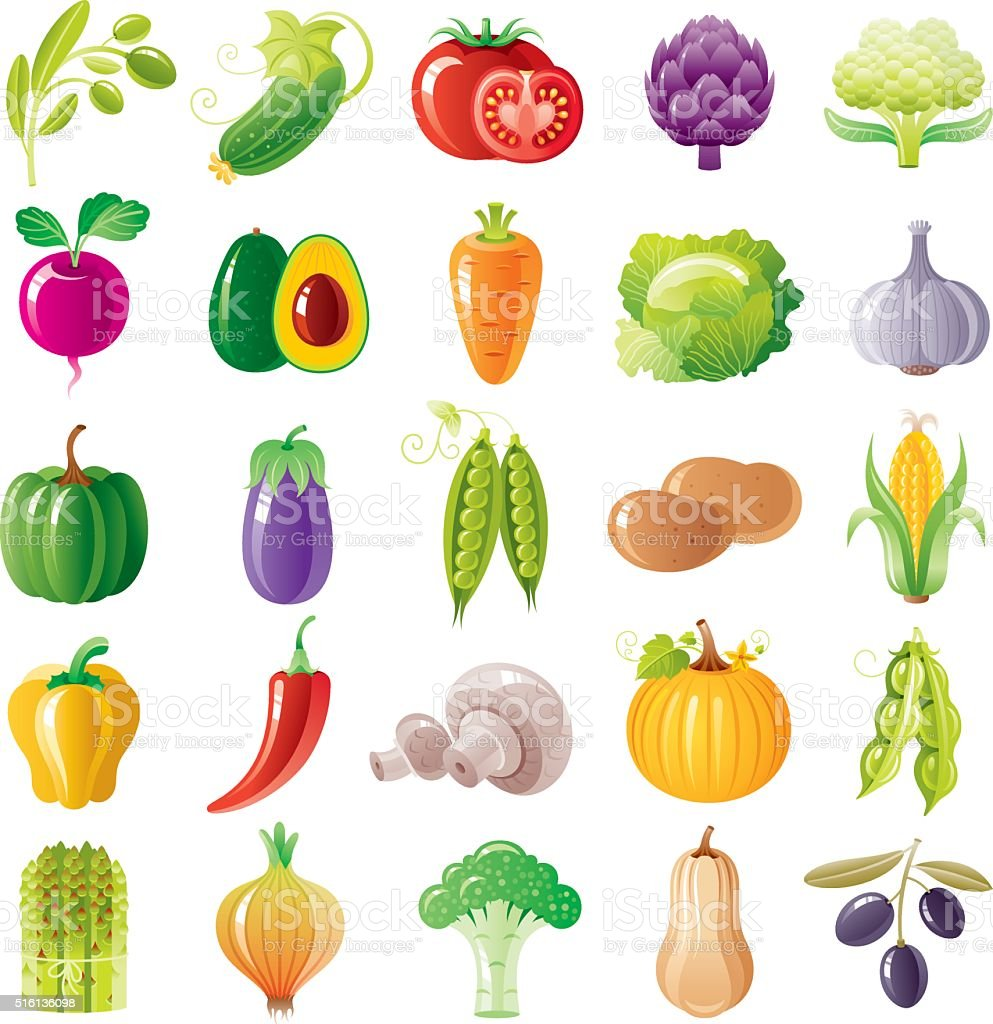 Vegetables icon set vector art illustration