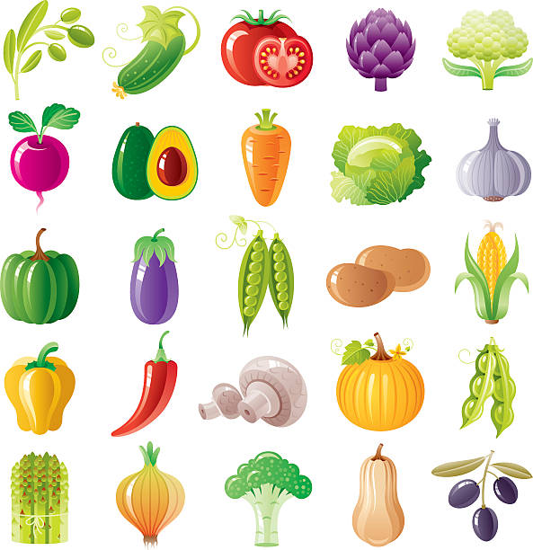 Vegetables icon set Vegetables icon set artichoke stock illustrations