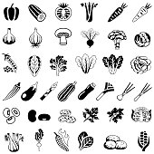 Single color black icons set of commonly consumed vegetables. Isolated.