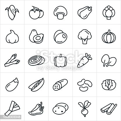 An set of vegetable icons. The icons include corn on the cob, tomatoes, mushroom, squash, artichoke, garlic, avocado, olives, broccoli, pumpkin, asparagus, onions, bell pepper, jalapeño pepper, pepper, carrot, spinach, eggplant, peas, cucumber, beans, lettuce, potatoes, leeks, gourd, radish and celery.