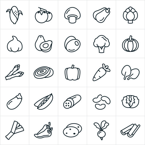 Vegetables Icons An set of vegetable icons. The icons include corn on the cob, tomatoes, mushroom, squash, artichoke, garlic, avocado, olives, broccoli, pumpkin, asparagus, onions, bell pepper, jalapeño pepper, pepper, carrot, spinach, eggplant, peas, cucumber, beans, lettuce, potatoes, leeks, gourd, radish and celery. artichoke stock illustrations