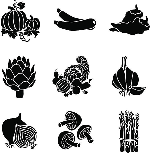 vegetables icons Vector icons of pumpkin, zucchini, hot peppers, artichoke, garlic, onion, mushrooms and asparagus. artichoke stock illustrations