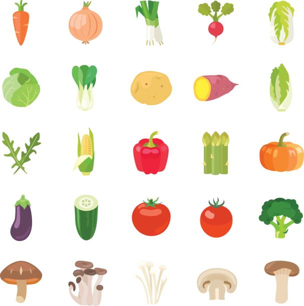 vegetables ii color vector icons - cherry tomato stock illustrations