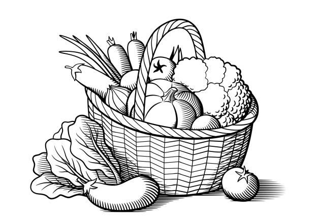 stockillustraties, clipart, cartoons en iconen met groenten in een mandje - mand