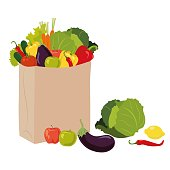 istock Vegetables in a paper bag. Shopping in the store. 1224037532