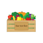 Vegetables in a wooden box with a sign for your text.  Organic food illustration. Fresh vegetables from the farm.