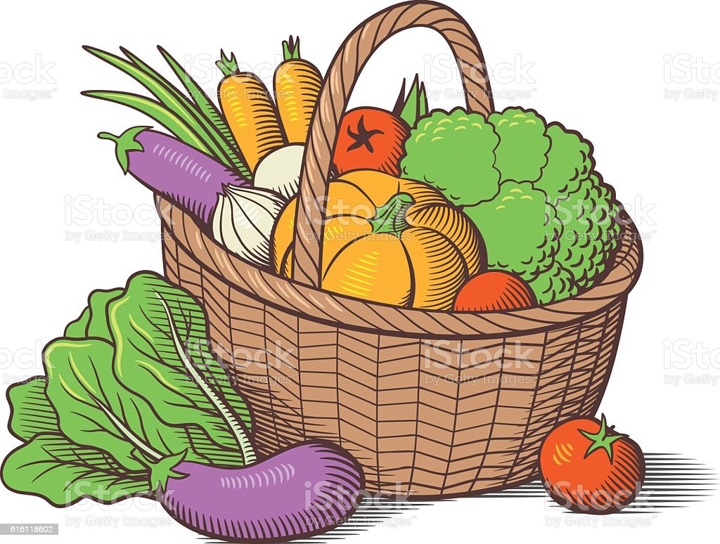 Vegetables In Basket Royalty Free Stock Vector Art