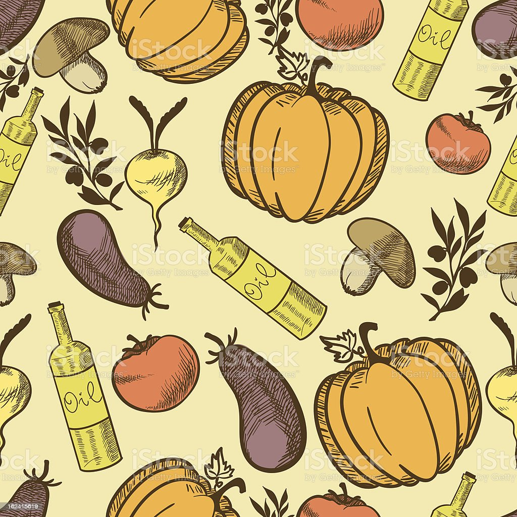 Vegetables in retro style seamless pattern royalty-free stock vector art