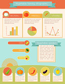 Vegetables garden and farming infographic set with charts vector illustration