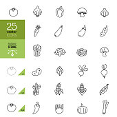 Vegetables Line Icons. Editable Stroke.