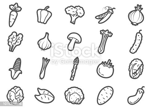 There are various of vegetable prominent line  icons set. Note : an american top 20 favorite vegetables.