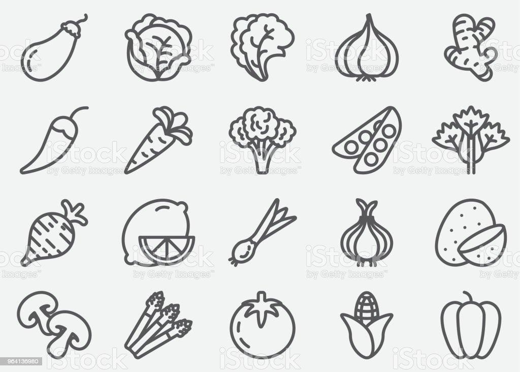 Ícones de linha de legumes - ilustração de arte em vetor