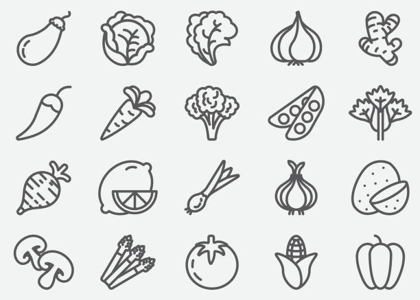 vegetables line icons - fruit icon stock illustrations, clip art, cartoons, & icons