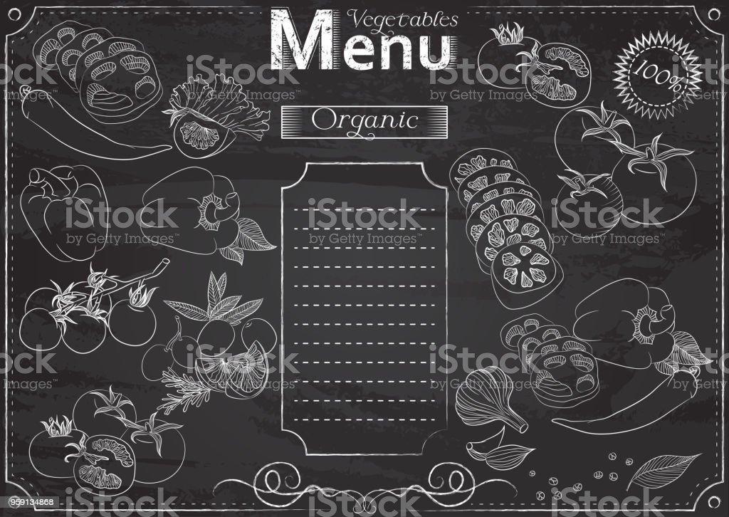 Vegetables menu vector art illustration