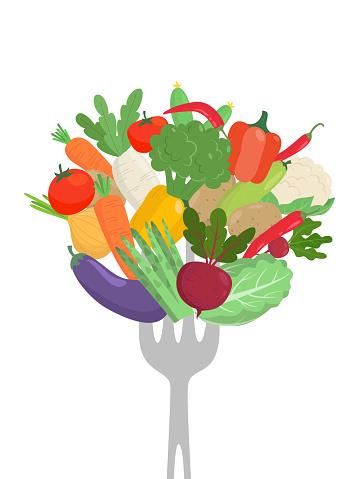 Vegetables on a fork. Healthy eating concept.