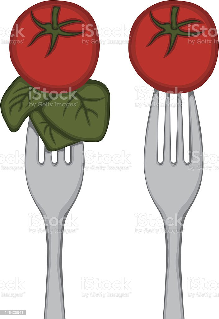 Vegetables on a Fork royalty-free vegetables on a fork stock vector art & more images of cherry tomato