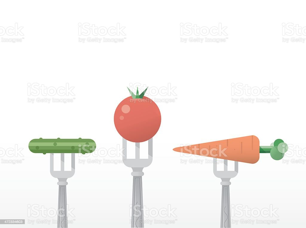 Vegetables on Forks - Tomato, Carrot and Cucumber royalty-free stock vector art