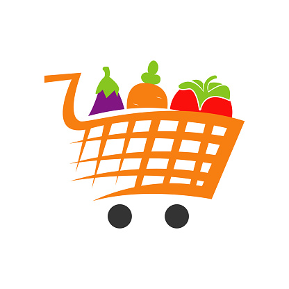 vegetables on shopping cart trolley grocery logo icon design vector