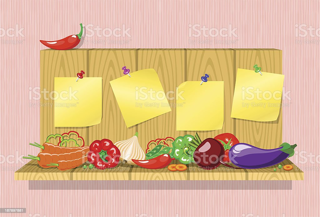 vegetables on the shelf with stickers royalty-free stock vector art
