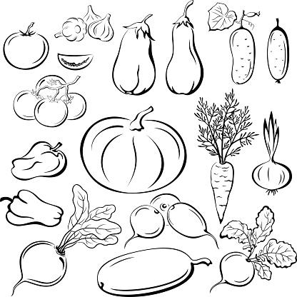 Vegetables Outline Pictograms Set Stock Illustration