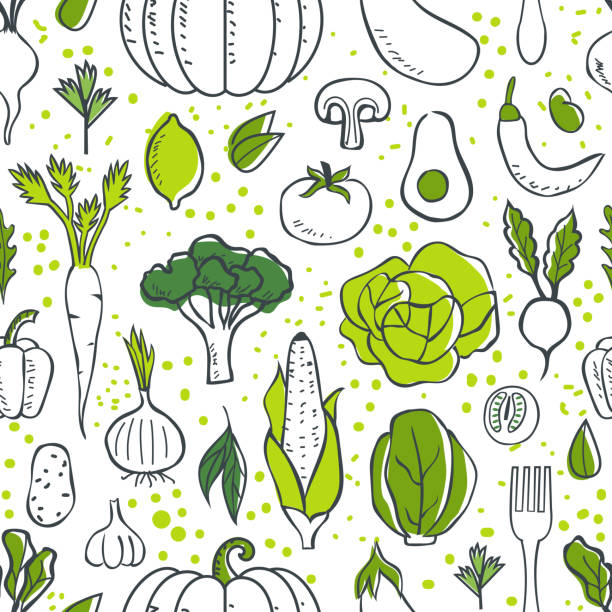 vegetables pattern Farm fresh vegetables seamless pattern. Sketch style vector illustration. cooking patterns stock illustrations