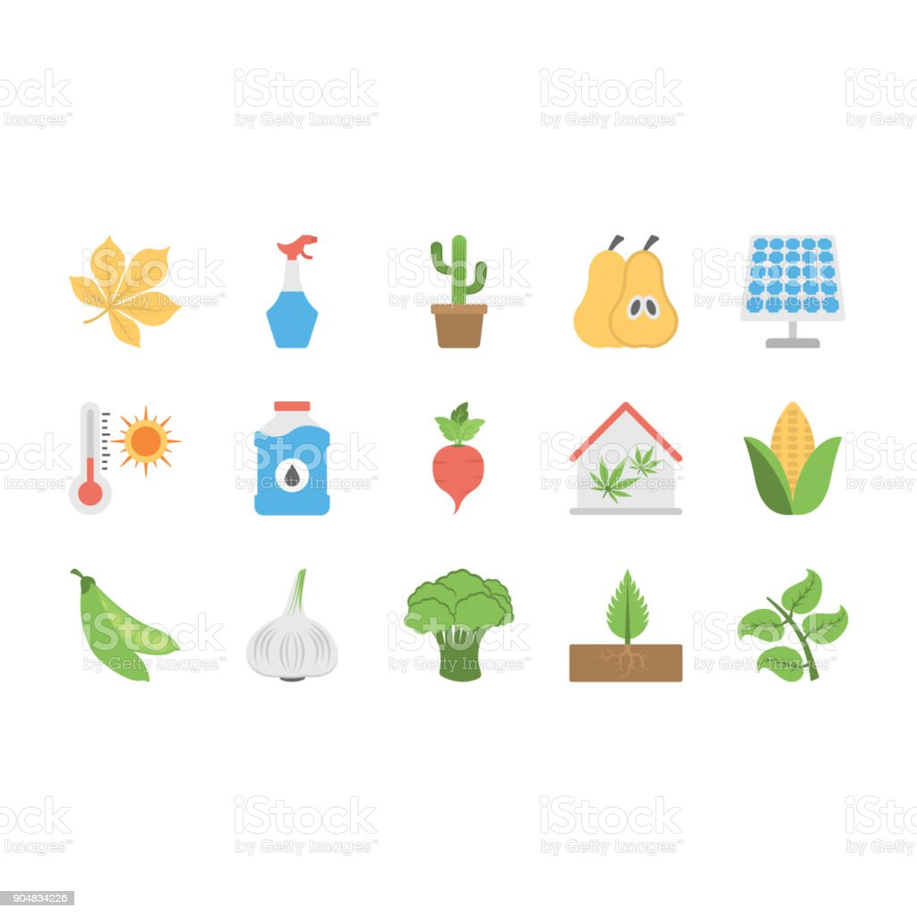 Vegetables, Plants, and Fruits Flat Vector Icons Set vector art illustration