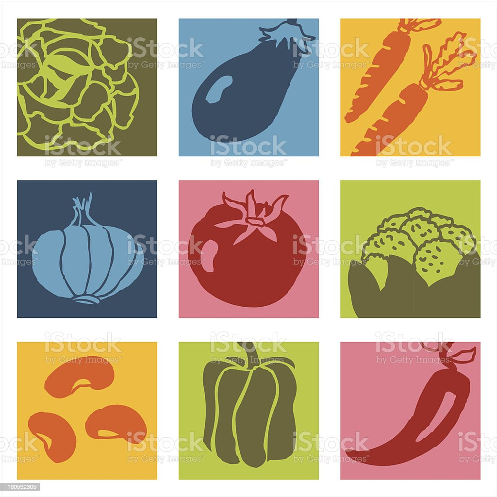 Vegetables pop icons 1 royalty-free stock vector art