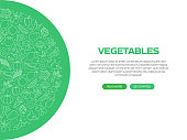Vegetables Related Banner Design with Pattern. Modern Line Style Icons Vector Illustration