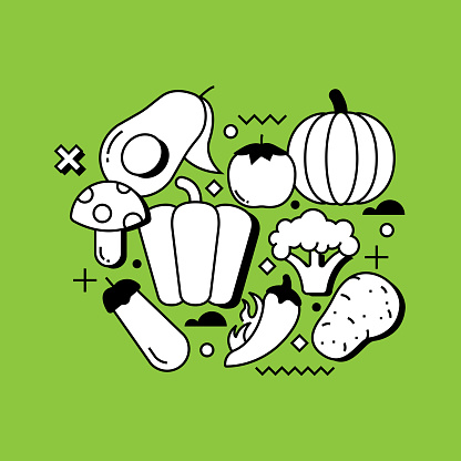 Vegetables Related Line Design Style Web Banner