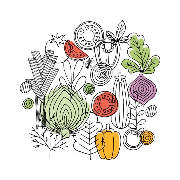 ilustrações de stock, clip art, desenhos animados e ícones de vegetables round composition. linear graphic. vegetables background. scandinavian style. healthy food. vector illustration - food