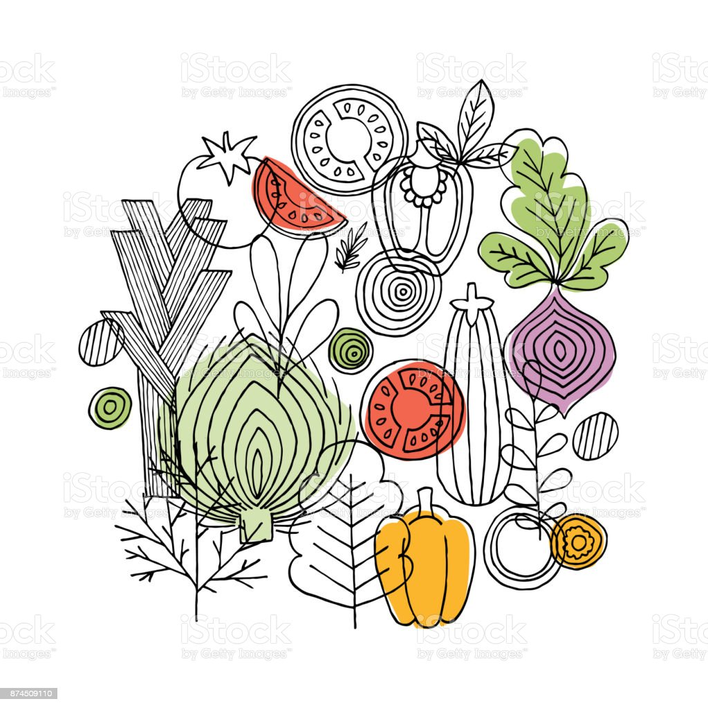 Vegetables round composition. Linear graphic. Vegetables background. Scandinavian style. Healthy food. Vector illustration vector art illustration