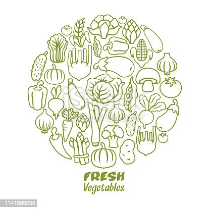 Vegetables round collage