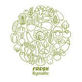 Vegetables round collage