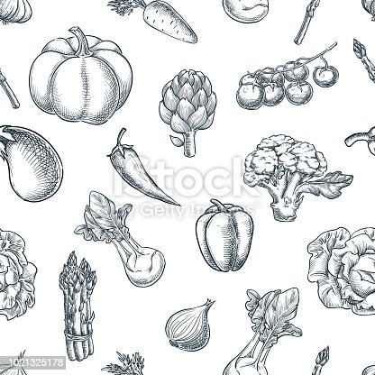 Vegetables seamless black white pattern. Vector sketch illustration. Farming and harvesting background. Fresh veggies market package design.