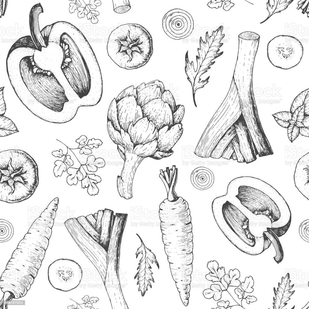 Modèle sans couture de légumes. Modèle de conception de menu marché paysan. Modèle d'emballage alimentaire légumes biologiques. Illustration vectorielle de dessinés à la main Vintage esquisse. Art graphique de ligne. Style gravé. - Illustration vectorielle
