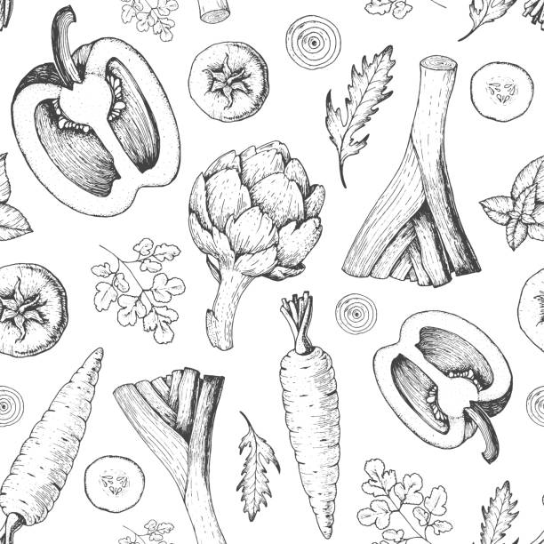 Vegetables seamless pattern. Farmers market menu design template. Organic vegetables food packaging pattern. Vintage hand drawn sketch vector illustration. Line art graphic. Engraved style. Vegetables seamless pattern. Farmers market menu design template. Organic vegetables food packaging pattern. Vintage hand drawn sketch vector illustration. Line art graphic. Engraved style. artichoke stock illustrations