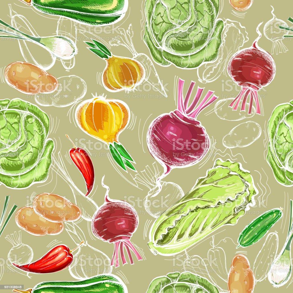 Vegetables seamless pattern. Fresh vegetarian healthy food. Eco farmer vegetables pattern, potato, carrot, cabbage, pepper vector art illustration