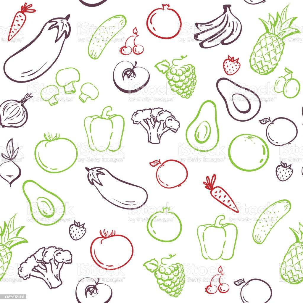 Vetores De Teste Padrao Sem Emenda Dos Vegetais Desenho Da Mao