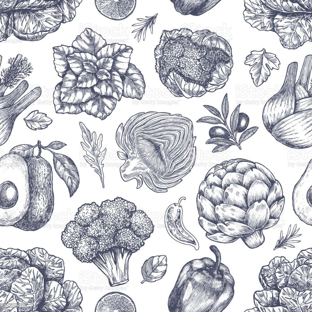 野菜のシームレスなパターン手書きヴィンテージ野菜ライン アートの