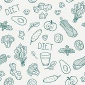 Vegetables seamless pattern. Vector illustration. Healthy eating background