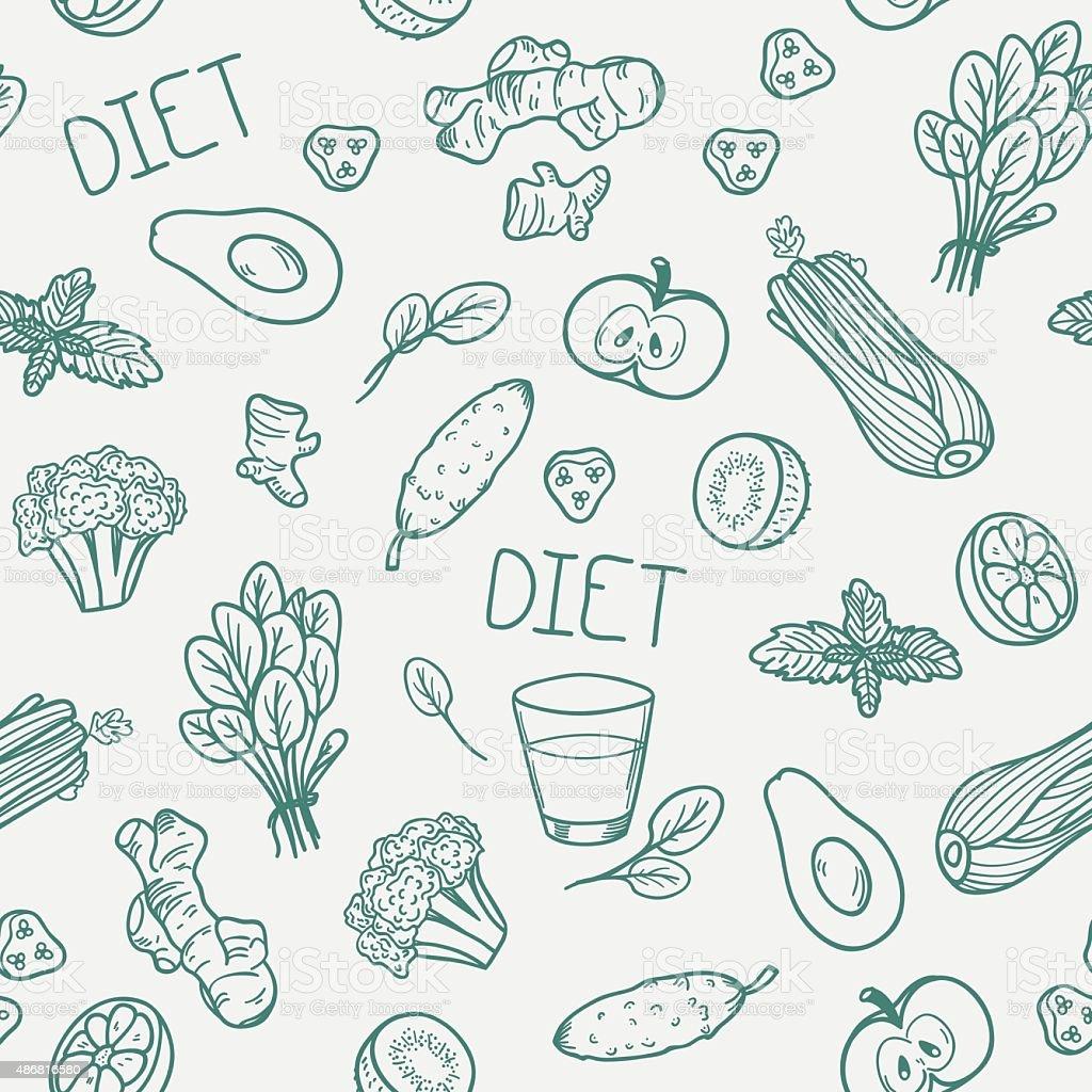Vegetables seamless pattern. Healthy eating background vector art illustration
