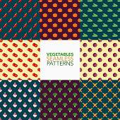 Vegetables Seamless Pattern Set